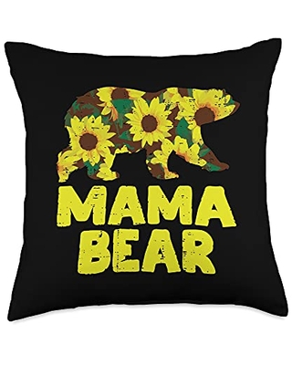 BoredKoalas Mom Pillows Mama Mothers Day Gifts Sunflower Mama Bear Cute Mothers Day Floral Mom Mommy Women Throw Pillow, 18x18, Multicolor