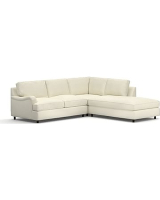 PB English Upholstered Left 3-Piece Bumper Sectional, Polyester Wrapped Cushions, Premium Performance Basketweave Ivory