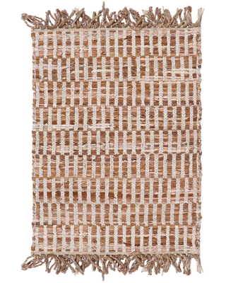 Brown and Natural Geometric Leather and Jute Area Rug - 2' x 3' by World Market