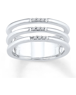 Triple Layer Midi Ring Diamond Accents Sterling Silver