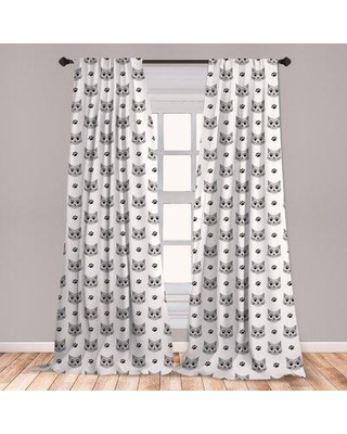 Amazing Deal On East Urban Home Kitten Room Darkening Rod Pocket Curtain Panels Size Per Panel 28 X 63 Polyester In Gray Silver Size 84 W X 56 D Wayfair