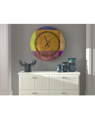 East Urban Home Baronial Smooth Peacock Abstract Metal Wall Clock W001731467 Size: Large