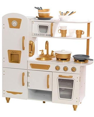 Great Prices For Kidkraft Modern White Play Kitchen With Gold Accents 27piece Cookware Set Amazon Exclusive