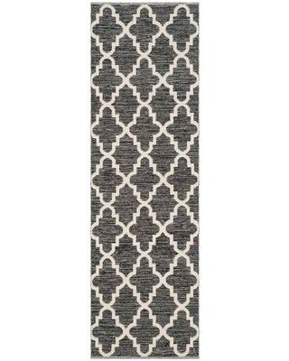 Alcott Hill Valley Handwoven Flatweave Black/Ivory Area Rug Rug Size: Rectangle 5' x 7'