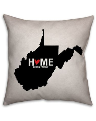 West Virginia State Pride Square Throw Pillow in Black/White