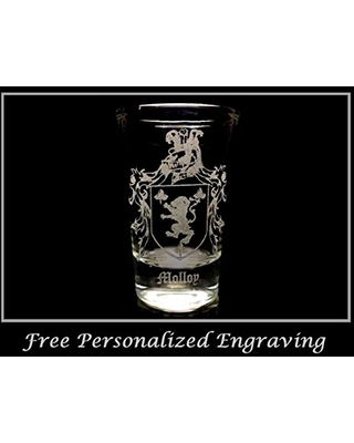 Molloy Irish Family Coat of Arms Shot Glass 2oz - Free Personalized Engraving