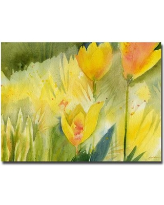 """Trademark Fine Art 'Path of Yellow Flowers' by Sheila Golden Painting Print on Canvas SG094-C2632GG / SG094-C3547GG Size: 35"""" H x 47"""" W x 2"""" D"""
