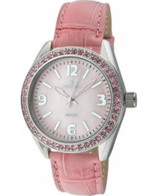 Peugeot Women's Crystal Leather Watch - 3006PK, Pink