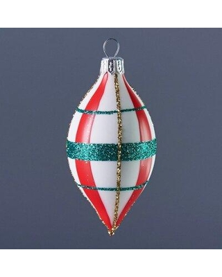 The Holiday Aisle White Teardrop with Red and Green Plaid Finial Ornament X113459125