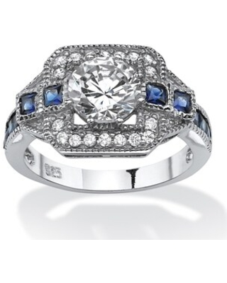 Platinum over Sterling Silver CZ and Sapphire Engagement Ring - Blue/White (6)