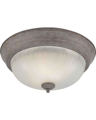 Talista 2-Light Desert Stone Flush Mount with Fluted Satin Etched Glass