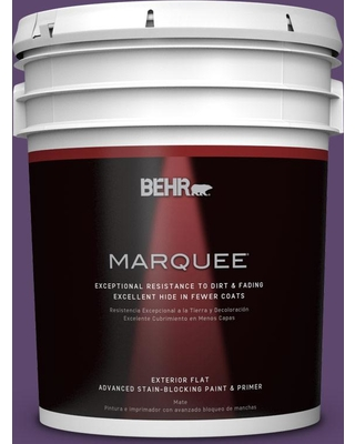 BEHR MARQUEE 5 gal. #S-G-660 Wild Grapes Flat Exterior Paint and Primer in One