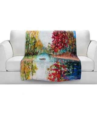 """Autumn Early Morning Serenity Soft Sherpa Blanket East Urban Home Size: 51"""" W x 60"""" L"""