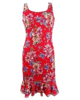 kensie Women's Floral-Lace Bodycon Dress (0, Red Multi)