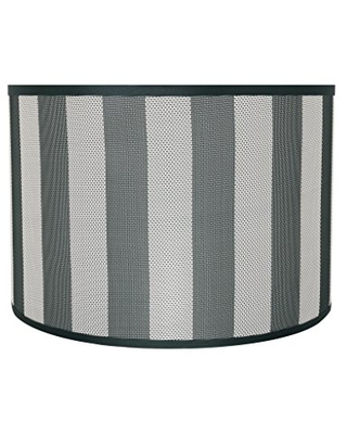 """Aspen Creative 31161 Transitional Drum (Cylinder) Shaped Spider Construction Lamp Shade in Hunter Green & White Striped, 16"""" Wide (16"""" x 16"""" x 11"""")"""
