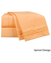 Clara Clark Bright Color Collection Bed Sheet Set (Apricot Orange - Full)