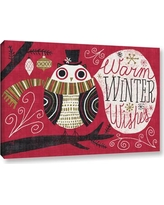 """ArtWall 'Quirky Christmas Owl' by Michael Mullan Painting Print on Wrapped Canvas 2mul072a Size: 12"""" H x 18"""" W x 2"""" D"""