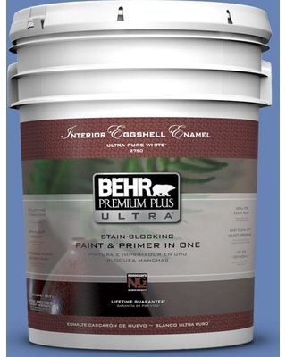 BEHR ULTRA 5 gal. #PPU15-06 Neon Blue Eggshell Enamel Interior Paint and Primer in One