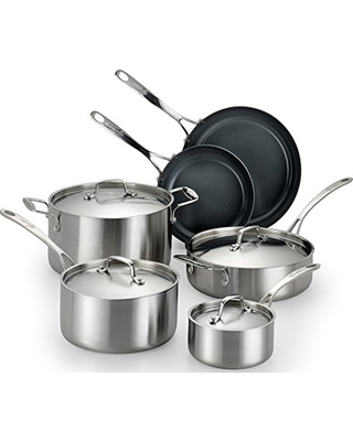 Lagostina Q552SA64 Axia Stainless Steel Ceramic Nonstick PFOA PTFE Free Cookware Set Cookware, 10-Piece, Silver