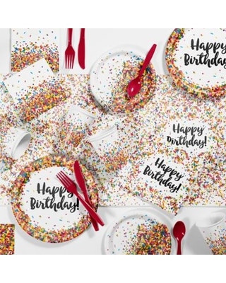 Creative Converting 81-Piece Confetti Sprinkles Birthday Party Supplies Kit