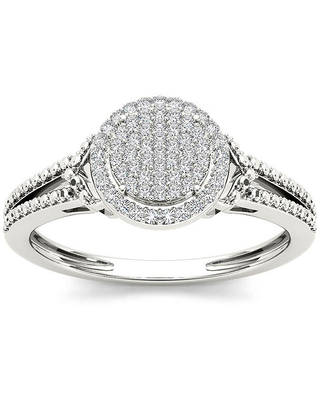 1/6 CT. T.W. Diamond 10K White Gold Engagement Ring, 6 , No Color Family