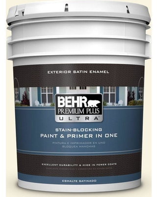 BEHR Premium Plus Ultra 5 gal. #360A-1 Social Butterfly Satin Enamel Exterior Paint and Primer in One