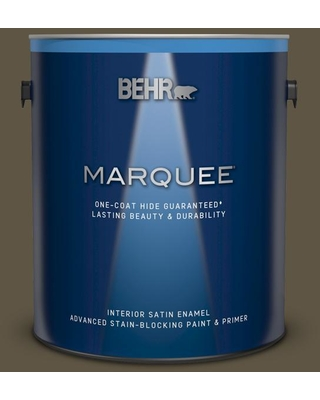 BEHR MARQUEE 1 gal. #QE-32 Treemoss Satin Enamel Interior Paint and Primer in One