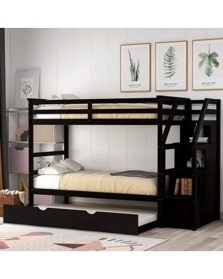 Lene Twin over Twin Solid Wood Standard Bunk Bed with Bookcase and Trundle Harriet Bee Bed Frame Color: Espresso