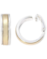 Liz Claiborne Gold-Tone & Silver-Tone Clip-On Hoop Earrings, One Size , Yellow