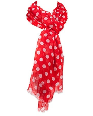Tickled Pink Women's Stylish, Long & Lightweight Polka Dot Fashion Scarf, Red, 36 x 70
