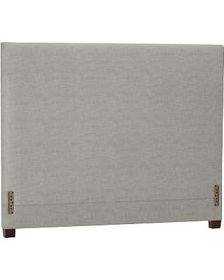 Raleigh Upholstered Square Full Headboard without Nailheads, Premium Performance Basketweave Light Gray