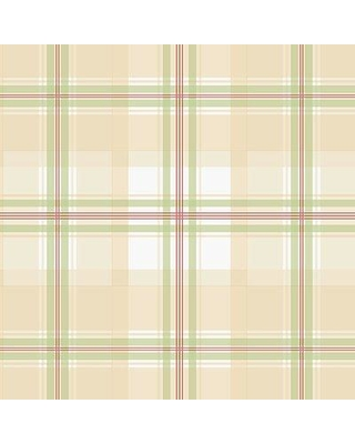 """August Grove Duckworth 32.7' L x 20.5"""" W Plaid Textured Wallpaper Roll AGRV1101 Color: Tan/Green/Red"""