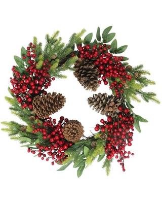 """22"""" Artificial Pine Cone Red Berry and Pine Sprig Christmas Wreath - Unlit"""