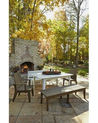 """Uwharrie Chair Hourglass Wood Dining Table H09 Table Top Size: 30"""" H x 42.75"""" L x 85"""" W Color: White (Distressed)"""