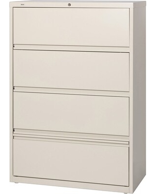Lorell Receding Lateral File with Roll Out Shelves, Putty, 36 | Quill