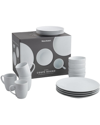 White Porcelain Coupe Dinnerware 16 Piece Set by World Market