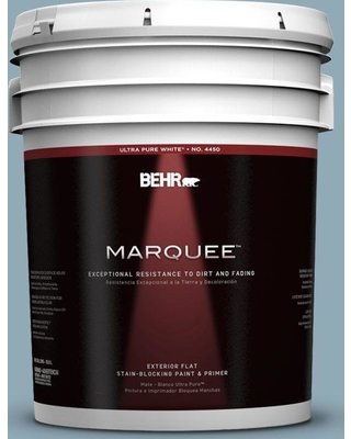 Find Big Savings On Behr Marquee 5 Gal 530f 4 Newport Blue Flat Exterior Paint And Primer In One