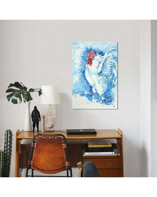 "East Urban Home 'White Rooster' Print on Canvas EBHV2043 Size: 26"" H x 18"" W x 0.75"" D"