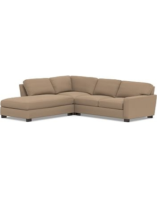 Turner Square Arm Upholstered Right 3-Piece Bumper Sectional without Nailheads, Down Blend Wrapped Cushions, Performance Plush Velvet Camel