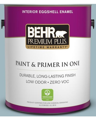BEHR Premium Plus 1 gal. #bic-23 Hopeful Blue Eggshell Enamel Low Odor Interior Paint and Primer in One