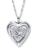 Heart Locket Necklace Angel & Crystals Sterling Silver