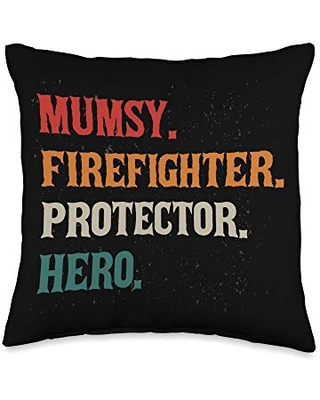 Mommy Firefighters Career Rescuer Momma Mumsy Protector Hero Mom Mama Firefighters Throw Pillow, 16x16, Multicolor