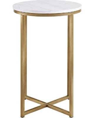 Walker Edison Furniture Company 16 in. Marble/Gold Round Side Table