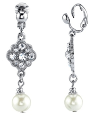 2028 Silver Tone Crystal and Imitation Pearl Drop Clip Earrings