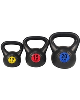 Everyday Essentials Wide Grip 3-Piece Kettlebell Exercise Fitness Weight Set, Include 10 lbs, 15 lbs, 20 lbs