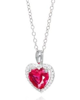 Belk & Co. Gray Created Ruby and White Sapphire Pendant Necklace in Sterling Silver