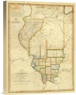 """East Urban Home 'Map of Illinois 1820' Print on Canvas EABP7833 Size: 16"""" H x 12"""" W x 1.5"""" D"""