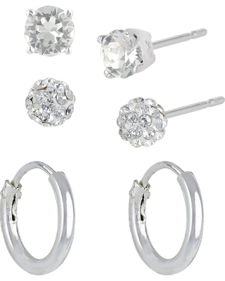Women's Sterling Silver Set of 3 Fireball Stud Earrings and Endless Hoop Earrings - Silver/Clear, Size: Small