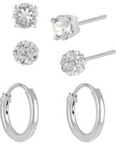 Women's Sterling Silver Crystal Fireball Stud Earrings and Endless Hoop Earring Set 3pc - A New Day Silver/Clear, Women's, Size: Small, Silver Clear