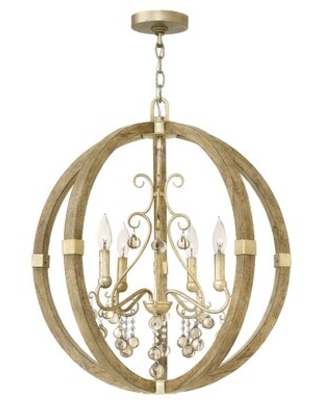 Susie 4 - Light Candle Style Globe Chandelier with Wood Accents
